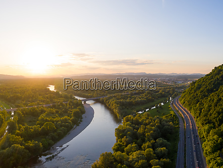 aerial view of scenic sunset at