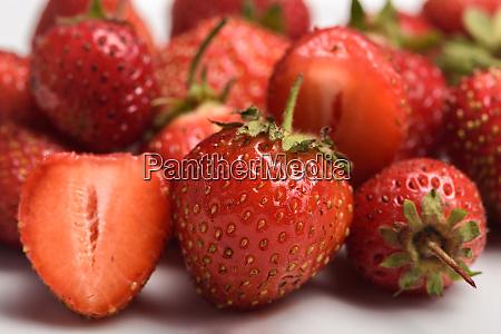 garden strawberry close up selective focus