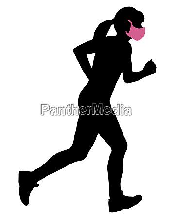 frau mit mundschutz beim joggen