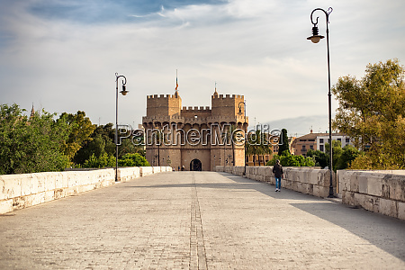 serranos towers in valencia spain from