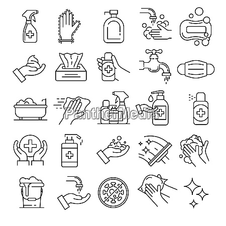 sanitation icons set outline set of