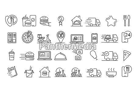 food delivery service icons set outline