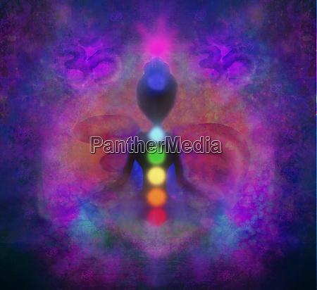 yoga lotus pose padmasana with colored