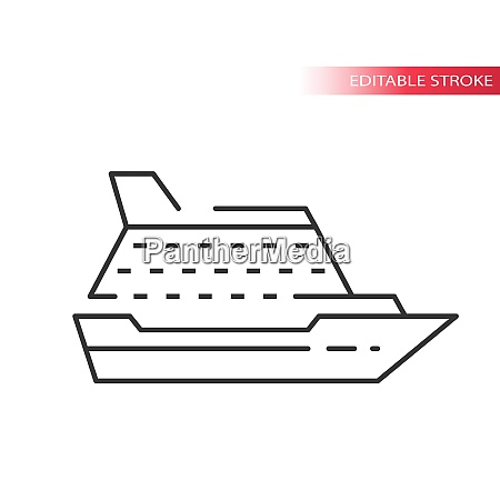 cruise ship liner thin line vector