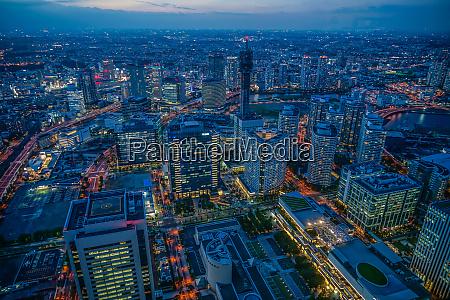 night view from yokohama landmark tower