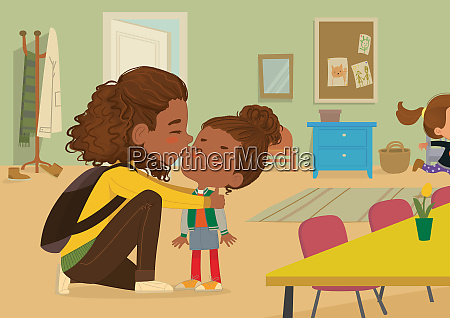 illustration of a mother gives a