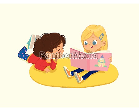 illustration of two friends girls reading