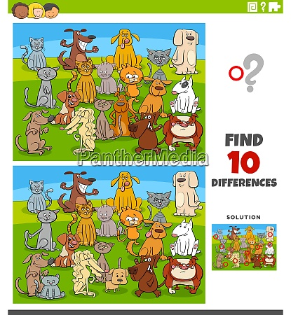 differences educational task with comic cats