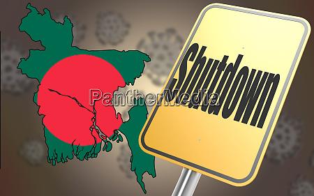 shutdown sign with bangladesh map