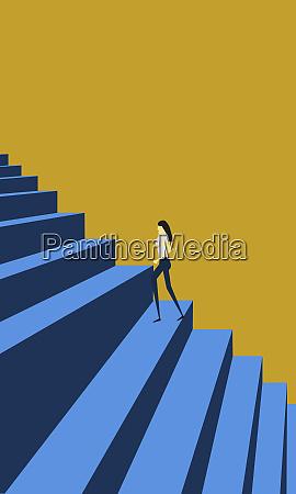 businesswoman walking to achievement career