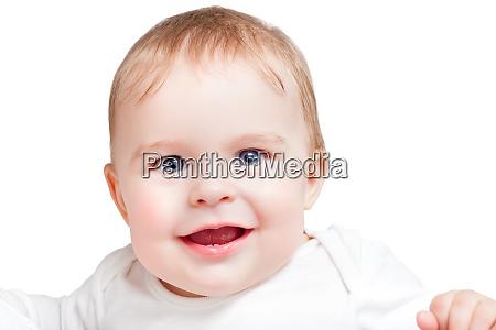 portrait of blue eyed baby