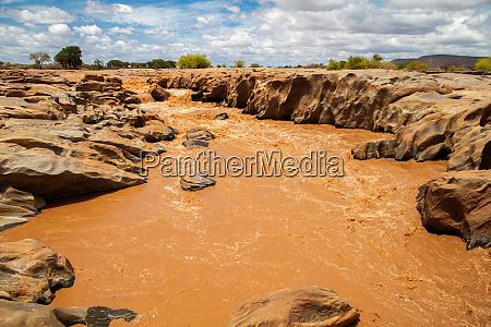 galana river in kenya blue sky