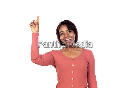 adorable african woman with pink t