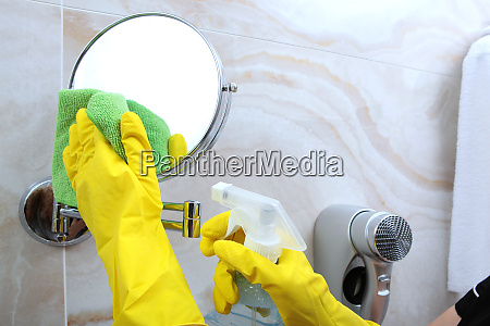 cleaning in the bathroom macro photo