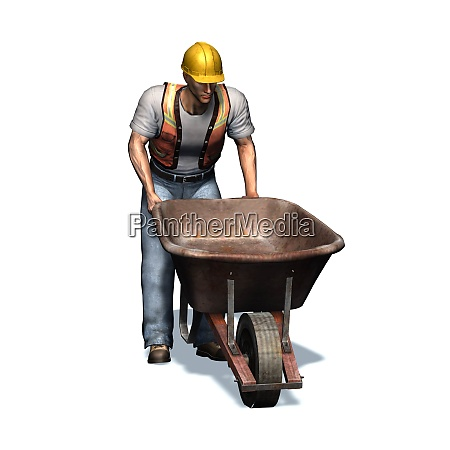 laborer with wheelbarrow isolated on