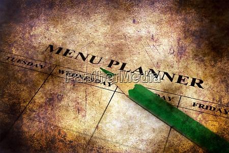 menu planner grunge concept