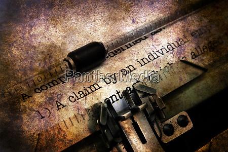 claim form on vintage typewriter grunge