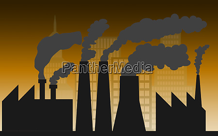 city and industry with air pollution