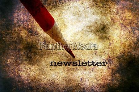 newsletter text on grunge background