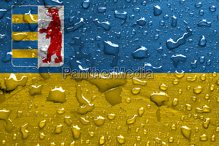 flag of zakarpattia oblast with rain