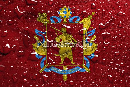 flag of zaporizhia oblast with rain