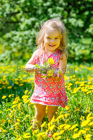 little girl with bouquet in the