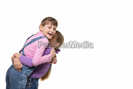 girl happily hugged her beloved a
