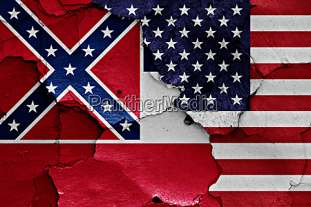 flags of mississippi and usa painted