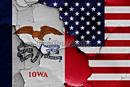 flags of iowa and usa painted