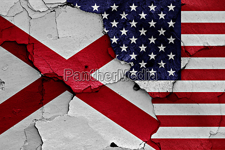 flags of alabama and usa painted