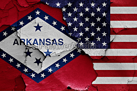 flags of arkansas and usa painted