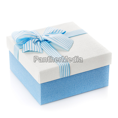 blue gift box with ribbon and