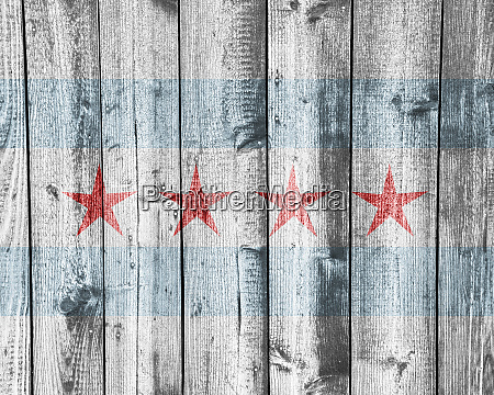 flag of chicago on old wooden