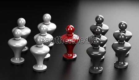 concept of pawns representing conflict between
