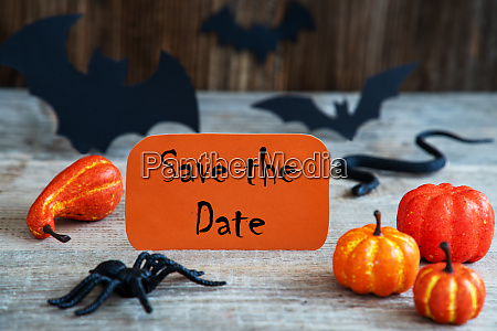 orange label text save the date