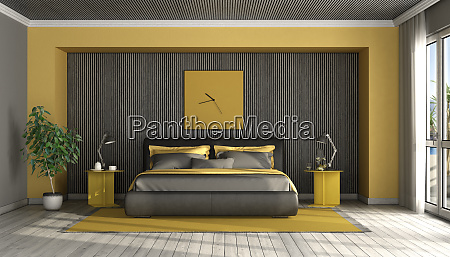 black and yellow modern master bedroom