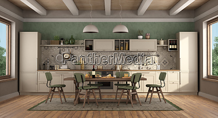 classic style kitchen with wooden table
