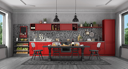 black and red classic style kitchen