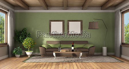 classic style living room with brown