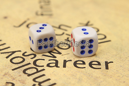 career and dice concept