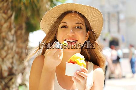 close up of pretty tourist girl