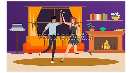 couple loving and dancing at home