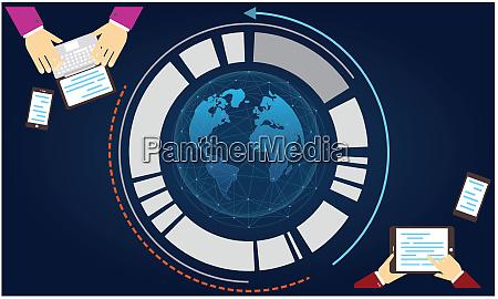 connecting and sending data worldwide across