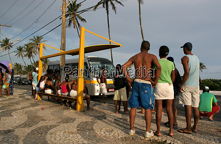 people waiting for public transport