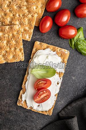 dieting knackebrot crispbread with creamy cheese