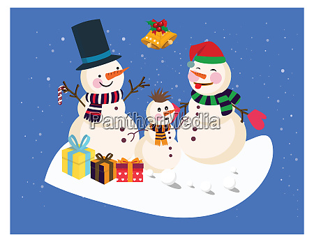 snowman in winters enjoy the christmas
