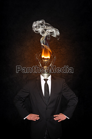 overworked burnout business man standing headless