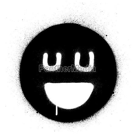 graffiti smiling happy icon sprayed in