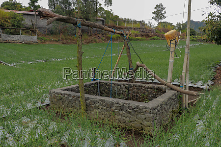 old well with winch in the