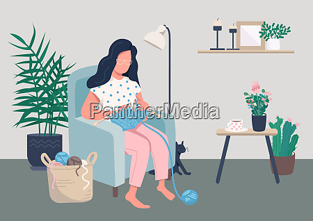 home relaxation flat color vector illustration